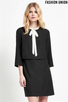 Fashion Union Tie Neck Double Layer Dress With