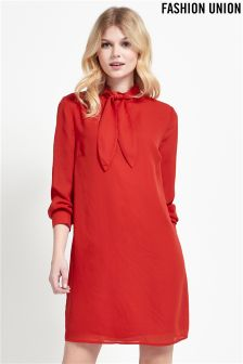 Fashion Union Tie Neck Shift Dress