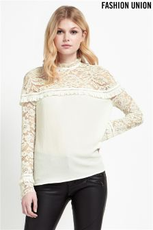 Fashion Union Lace Yoke Tassel Trim Blouse