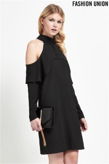 Fashion Union Cold Shoulder Shift Dress