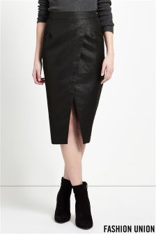 Fashion Union Metallic Wrap Midi Pencil Skirt
