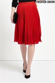 Fashion Union Pleated Midi Skirt