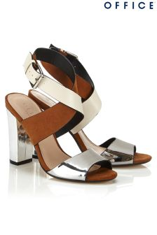 Office Tri-tone Metallic Block Heeled Sandals