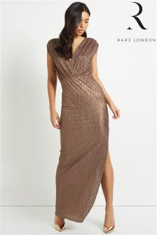 Rare Plunge Front Metallic Maxi Dress
