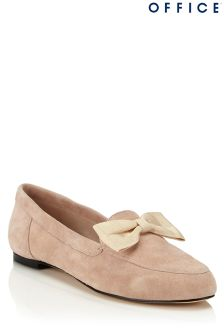 Office Bow Detail Suede Loafers