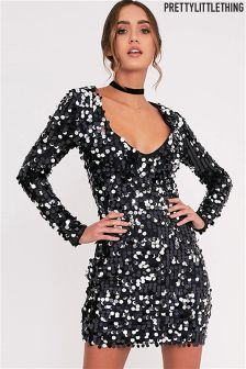 PrettyLittleThing Plunge Sequinned Shift Dress