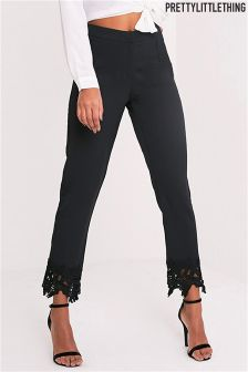 PrettyLittleThing Lace Trim Front Seam Trouser