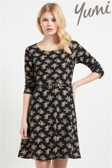 Yumi Floral Knit Belt Dress