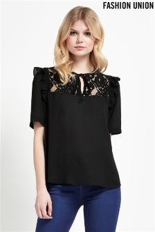 Fashion Union Lace Tie Up Blouse