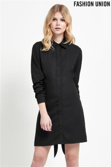 Fashion Union Tie Front Shirt Dress