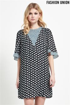Fashion Union Print Shift Dress