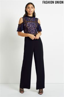 Fashion Union Lace Panel Jumpsuit
