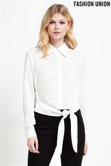 Fashion Union Tie Front Shirt