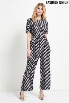 Fashion Union Floral Print Jumpsuit