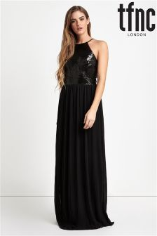 tfnc High Neck Sequin Maxi Dress