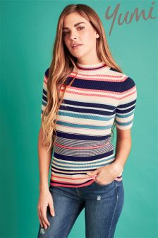 Yumi Stripe Knit High Neck Top