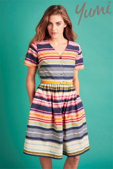 Yumi Stripe Belted Dress