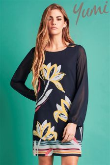 Yumi Floral Brush Stroke Tunic Dress