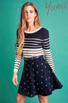 Yumi Nautical Lobster Belted Skirt