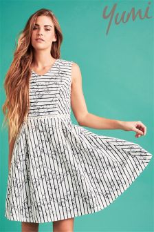 Yumi Stripe Lace Shift Dress