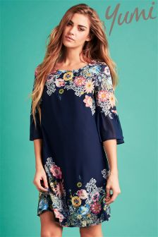 Yumi Floral Flared Sleeve Tunic Dress