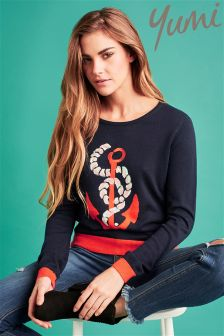 Yumi Embellished Anchor Jumper
