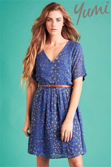Yumi Floral V-neck Belted Dress
