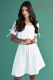 Yumi Embroidered Skater Dress