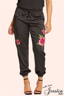 Jesssica Wright Embellished Satin Trousers