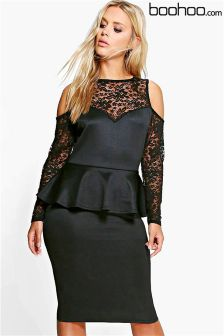 Boohoo Plus Lace Detail Peplum Dress