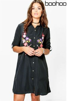 Boohoo Plus Embroidered Midi Shirt Dress