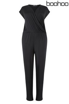 Boohoo Plus Sleeveless Wrap Jumpsuit