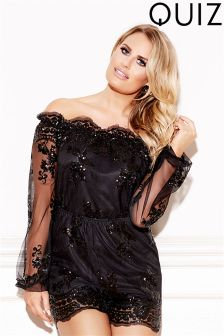 Quiz Sequin Long Sleeve Bardot Playsuit