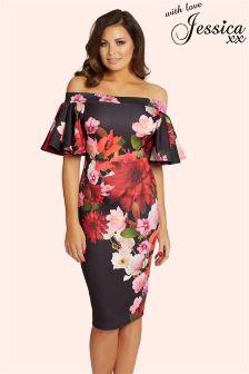 Jessica Wright Floral Print Bardot Frill Dress