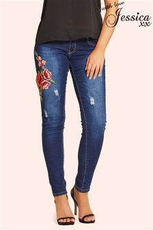 Jessica Wright Embroidered Floral Skinny Jeans
