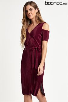 Boohoo Cold Shoulder Tie Waist Dress