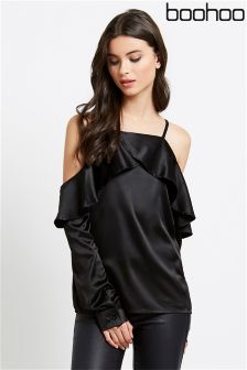 Boohoo Cold Shoulder Blouse