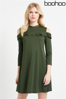 Boohoo Ruffle Crepe Dress