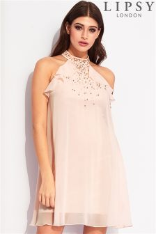 Lipsy Ruffle Jewel Top Swing Dress
