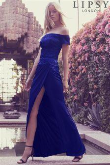 Lipsy Applique Wrap Bardot Maxi Dress