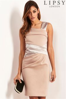 Lipsy Satin Panelled Asymmetric Dress