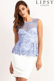 Lipsy Contrast Lace Peplum Dress