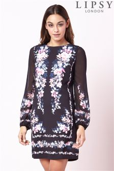 Lipsy Long Sleeve Border Print Shift Dress