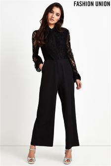 Fashion Union Lace Wide Leg Jumpsuit