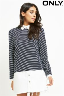 Only Collared Striped Top