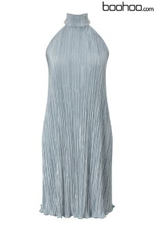 Boohoo Petite Pleated Halter Dress