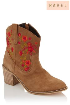 Ravel Embroidered Ankle Boots