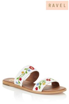 Ravel Embroidered Flat Sandals