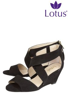 Lotus Cross Over Wedge Sandals