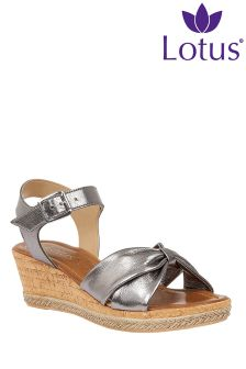 Lotus Metallic Wedge Sandals